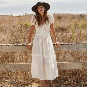 Christy Dawn Dawn Dress in White Midi Textured